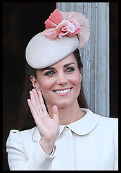 Image licensed to i-Images Picture Agency. 04/08/2014. Mons, Belgium .The Duchess of Cambridge waves from the balcony of Mons Town Hall in Belgium during a reception as part of series of events to commemorate  the 100th anniversary of the start of the First World War. Picture by Stephen Lock / i-Images