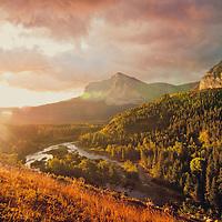surise over many glacier valley, sherburne creek,