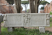 Sarcophagus, Oratorio Cristiano delle Terme del Mitra (Christian Oratory), built in the 4th century - 5th century on the top of the mithraeum of the Baths of Mithras, Ostia Antica, Italy. Picture by Manuel Cohen