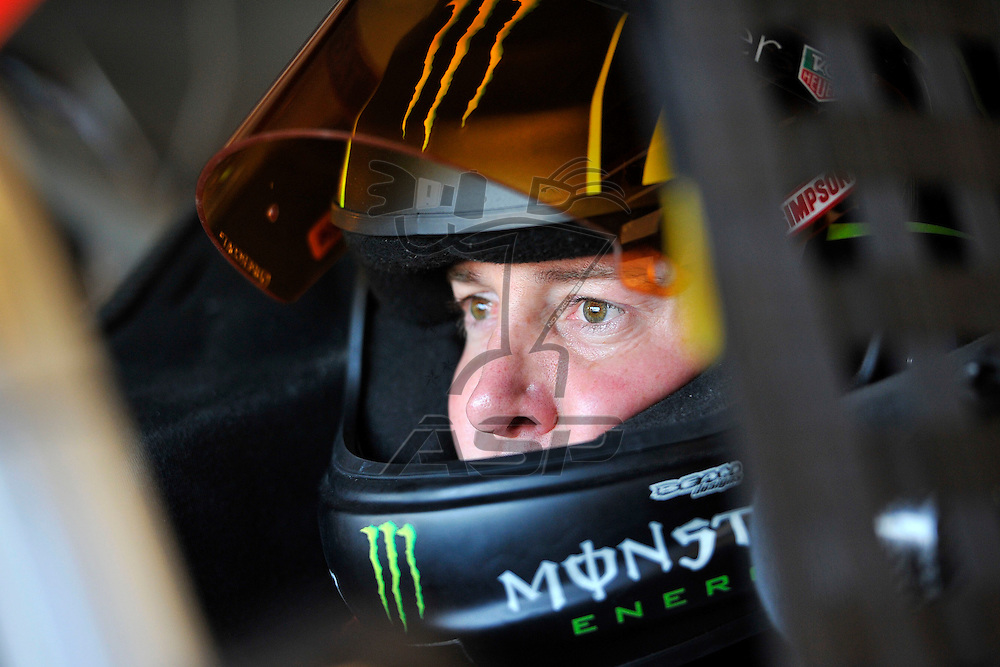 Joliet, IL - SEP 14, 2012: Kurt Busch (51) sits in his car during practice for the Geico 400 at the Chicagoland Speedway in Joliet, IL.