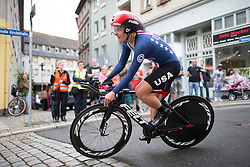 Leah Thomas (USA) of Team USA clears the final corner of the prologue of the Lotto Thuringen Ladies Tour - a 6.1 km individual time trial, starting and finishing in Gera on July 12, 2017, in Thuringen, Germany. (Photo by Balint Hamvas/Velofocus.com)