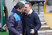 Huddersfield Town Manager David Wagner  and Sheffield Wednesday head coach Carlos Carvalhal  during the Sky Bet Championship match between Huddersfield Town and Sheffield Wednesday at the John Smiths Stadium, Huddersfield, England on 2 April 2016. Photo by Simon Davies.