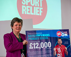 EMBARGOED until 00.01 Friday 13 March 2020. Davidsons Mains Primary School, Edinburgh, Scotland, United Kingdom: Sport Relief Funding. On Sport Relief Day, Jenny Gilruth announces a £1.75 million joint funding package from the Scottish Government and Sport Relief for projects using sport to champion gender equality. Davidsons Mains primary school is a top fundraising school for Sport Relief. Picturted: Astrid Gracie, Headteacher.<br /> Sally Anderson | EdinburghElitemedia.co.uk