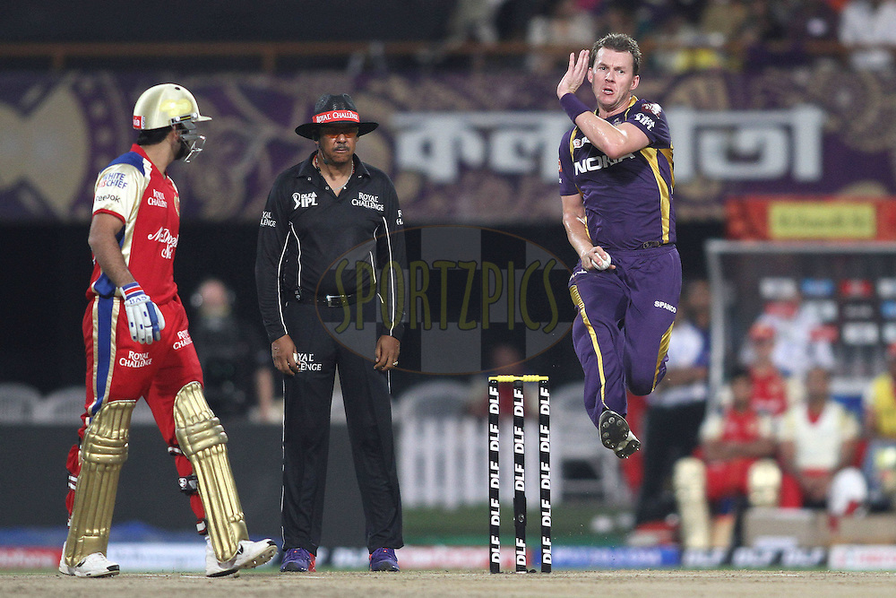 Brett Lee of the Kolkata Knight Riders sends down a delivery during match 38 of the the Indian Premier League (IPL) 2012  between The Kolkata Knight Riders and The Royal Challengers Bangalore held at the Eden Gardens Stadium in Kolkata on the 28th April 2012..Photo by Shaun Roy/IPL/SPORTZPICS