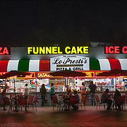Night, La Presiti's  Pizza & Grill in the summer on Boardwalk of Atlantic City, NJ