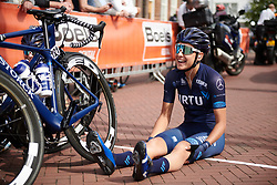 Barbara Guarischi (ITA) marks her spot on the start line at Boels Ladies Tour 2018 - Stage 4, a 124.3km road race from Stramproy to Weert, Netherlands on August 31, 2018. Photo by Sean Robinson/velofocus.com