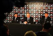 All Blacks coaches Wayne Smith, Graham Henry and Steve Hansen.<br />All Blacks end-of-year tour team announcement, NZRU HQ, Wellington. Sunday, 26 October 2008. Photo: Dave Lintott/PHOTOSPORT