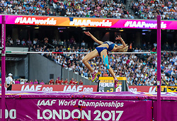 London, August 12 2017 . Yuliia Levchenko, Ukraine, the women's high jump final on day nine of the IAAF London 2017 world Championships at the London Stadium. © Paul Davey.
