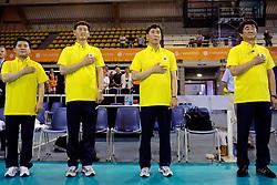 08-07-2010 VOLLEYBAL: WLV NEDERLAND - ZUID KOREA: EINDHOVEN<br /> Nederland verslaat Zuid Korea met 3-0 / Staf Korea met rechts coach Chi Yong Shin<br /> ©2010-WWW.FOTOHOOGENDOORN.NL