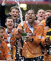 Joleon Lescott (Wolves) leads the celebrations with a bottle of Champagne. Wolverhampton Wanderers v Sheffield United. Division One play off Final @ Cardiff's Millennium Stadium. 26/5/2003. Credit : Colorsport/Andrew Cowie.