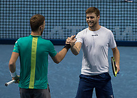 Tennis - 2017 Nitto ATP Finals at The O2 - Day Three<br /> <br /> Mens Doubles: Group Eltingh/Haarhus: Pierre-Hugues Herbert (France) & Nicolas Mahut (France) Vs Ryan Harrison (United States) & Micheal Venus (New Zealand)<br /> <br /> Ryan Harrison (United States) and Micheal Venus (New Zealand) celebrate after reaching the semi finals at the O2 Arena <br /> <br /> COLORSPORT/DANIEL BEARHAM