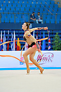 Mickova Monika during qualifying at ribbon in Pesaro World Cup at Adriatic Arena on 11 April 2015. Monika was born on July 29, 1991 in Brno. She is individual rhythmic gymnast of Czech Republic.