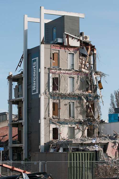 The partially demolished Harcourts Grenadier Real Estate building in the CBD red zone after the June 13 earthquake, Christchurch, New Zealand, Saturday, June 25, 2011. Credit:SNPA/David Alexander
