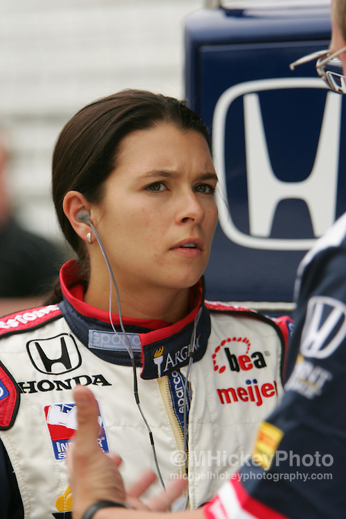Danica Patrick, Argent Rahal Letterman Racing seen during practice for the Indianapolis 500 at the Indianapolis Motor Speedway on May 9, 2006. Photo by Michael Hickey
