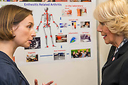 Her Royal Highness meets other staff and supporters. The Duchess of Cornwall, Patron, Arthritis Research UK, visits and meets patients of the Adolescent Inpatient Unit at University College London Hospitals.  •Her Royal Highness then tours a laboratory at the Arthritis Research UK Centre for Adolescent Rheumatology and meeting researchers and supporters. London 12 Feb 2015.