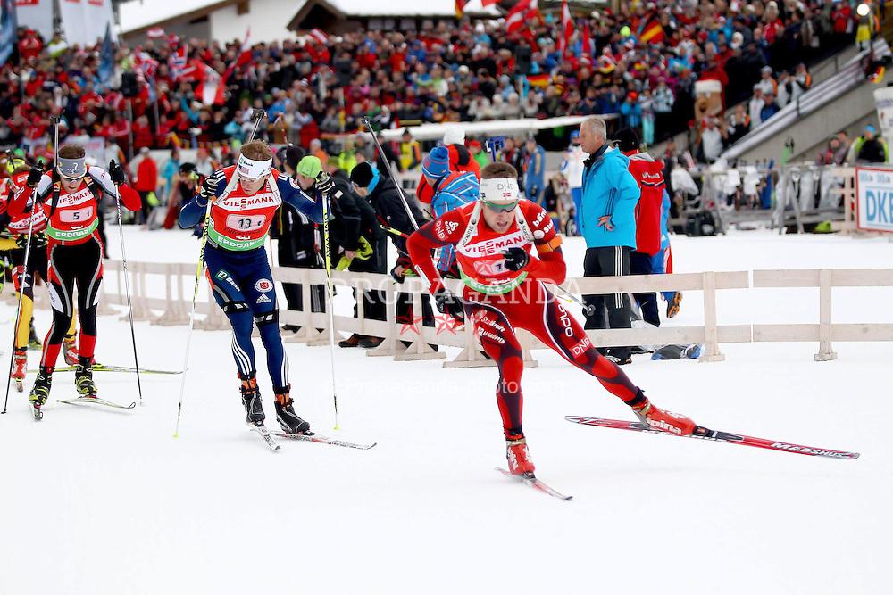 11.12.2011, Biathlonzentrum, Hochfilzen, AUT, E.ON IBU Weltcup, 2. Biathlon, Hochfilzen, Staffel Herren, im Bild nach dem start in fuehrung Brattsveen Rune (Team NOR) vor Bailey Lowell (Team USA) und Eder Simon (Team Austria) // during Team Relay E.ON IBU World Cup 2th Biathlon, Hochfilzen, Austria on 2011/12/11. EXPA Pictures © 2011. EXPA Pictures © 2011, PhotoCredit: EXPA/ nph/ Straubmeier..***** ATTENTION - OUT OF GER, CRO *****