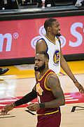 Golden State Warriors forward Kevin Durant (35) laughs as fans boo Cleveland Cavaliers forward LeBron James (23) at Oracle Arena in Oakland, Calif., on January 16, 2017. (Stan Olszewski/Special to S.F. Examiner)