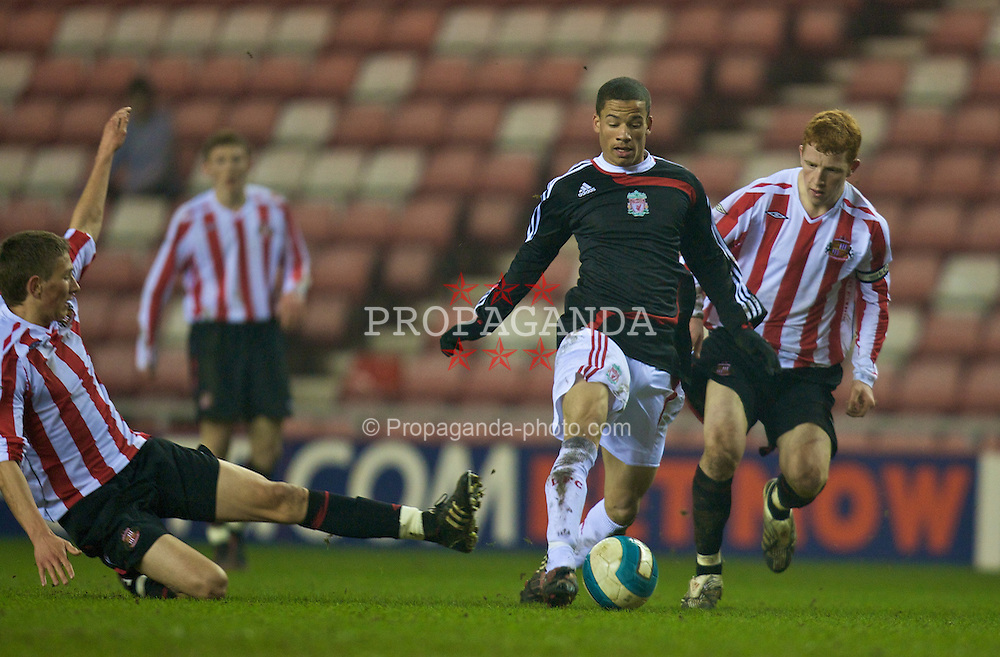 SUNDERLAND, ENGLAND - Wednesday, February 13, 2008: Liverpool's Nathan Eccleston in action against Sunderland's Jack Colback during the FA Youth Cup 5th Round match at the Stadium of Light. (Photo by David Rawcliffe/Propaganda)