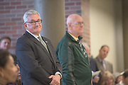 Daniel DeLawder, left, is recognized for his contribution during the ribbon cutting ceremony for the Gladys W. and David H. Patton College of Education's newly renovated McCracken Hall held on January 27, 2017.