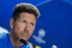 October 2, 2018 - Madrid, Spain - Atletico de Madrid coach Diego Pablo Simeone during press conference the day before Group Stage UEFA Champions League match between Atletico de Madrid and Club Brujas at Wanda Metropolitano Stadium in Madrid, Spain. October, 2018. (Credit Image: © Coolmedia/NurPhoto/ZUMA Press)