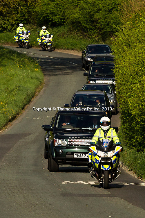 As part of Operation RUPEE, the Special Escort Group of Thames Valley Police, Roads Policing Unit, Escort the G7 convoy to Chequers. <br /> <br /> Op RUPEE was a policing operation in Buckinghamshire in support of the G7 Global Finance Ministers Conference.<br /> <br /> Thames Valley Police worked in support of HM Treasury, the event organisers. The operation ran for the duration of the conference, the main days of which were Friday (10/5) and Saturday (11/5) at Hartwell House Hotel and Spa, near Aylesbury.<br /> <br /> The Finance Ministers and Central Bank Governors of the group of seven (G7) industrialised countries were in attendance.<br /> <br /> Aylesbury Vale LPA Commander Supt OllyWright said: &ldquo;Thames Valley Police officers are deployed throughout this event in support of the security operation, and to minimise any disruption to the local community.&rdquo;. Aylesbury, UNITED KINGDOM. May 10 2013. <br /> Photo Credit: MDOC/Thames Valley Police<br /> &copy; Thames Valley Police 2013. All Rights Reserved. See instructions.