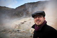 Member of the German Piraten Partei by Seltún Geothermal area at Reykjanes Peninsula, Iceland.