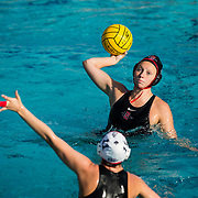 11 February 2018: The San Diego State  women's water polo team competes in day two of the Triton Invitation on the campus of UCSD. San Diego State Aztecs defender Casia Morrison (8) attempts a shot in the second quarter. The Aztecs took on the #23 CSUN Matadors Sunday morning and came away with a 8-5 win.<br /> More game action at www.sdsuaztecphotos.com
