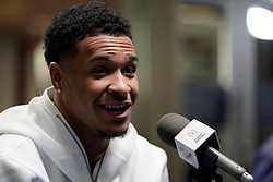 Grant Delpit #7 of the LSU Tigers speaks with the media at Media Day on Thursday, Dec. 26, in Atlanta. LSU will face Oklahoma in the 2019 College Football Playoff Semifinal at the Chick-fil-A Peach Bowl. (Paul Abell via Abell Images for the Chick-fil-A Peach Bowl)