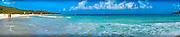 Culebra, Flamenco Beach, Couple Walking, Waves, White, Sand, Beach, Aua, Ocean, Water, Panorama CGI Backgrounds, ,Beautiful Background
