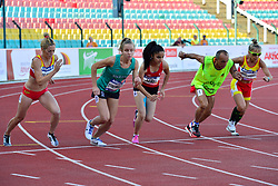 From left to right Izaskun Oses Ayucar, ESP, Greta Streimikyte, IRE, Asli Adali, TUR, Maria Del Carmen Parades Rodriguez, ESP and guide Lorenzon Sanchez Martin competing in the T13, 1500m at the Berlin 2018 World Para Athletics European Championships