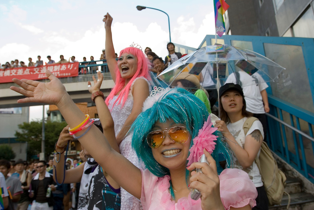 Tokyo. Japan Tokyo Gay and Lesbian Parade, which was revived after a halt three years, in Tokyo Saturday, Aug. 13, 2005. About 3,000 participants highlighted their presence during the march through Tokyo's shopping and entertainment district of Shibuya and Harajuku.