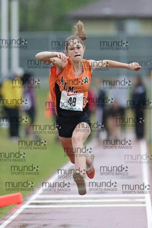 Jillian Larkin of Almonte District HS - Almonte competes in the junior girls triple jump at the 2013 OFSAA Track and Field Championship in Oshawa Ontario, Thursday,  June 6, 2013.<br /> Mundo Sport Images / Sean Burges