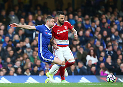 May 8, 2017 - Chelsea, Greater London, United Kingdom - Chelsea's Gary Cahill and Alvaro Negredo of Middlesbrough .during Premier League match between Chelsea and Middlesbrough at Stamford Bridge, London, England on 08 May 2017. (Credit Image: © Kieran Galvin/NurPhoto via ZUMA Press)