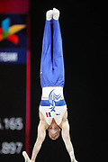 Julien Gobaux (France) team bronze medal at the Parallel Bars competition during the presentation of the teams during the European Championships Glasgow 2018, Team Men Final at The SSE Hydro in Glasgow, Great Britain, Day 10, on August 11, 2018 - Photo Laurent Lairys / ProSportsImages / DPPI