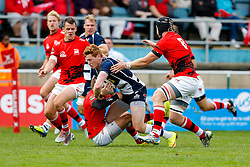 Bristol Rugby Outside Centre Jack Tovey is tackled by London Welsh Winger Martyn Thomas and Number 8 Kieran Murphy  - Mandatory byline: Rogan Thomson/JMP - 07966 386802 - 13/09/2015 - RUGBY UNION - Old Deer Park - Richmond, London, England - London Welsh v Bristol Rugby - Greene King IPA Championship.