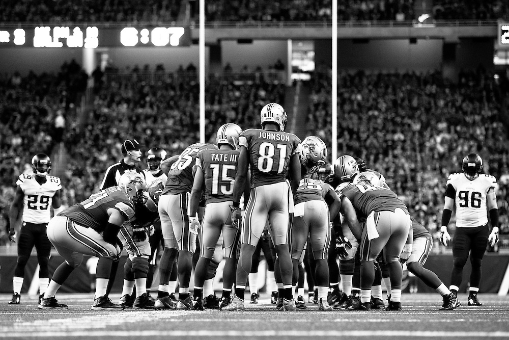 The Detroit Lions huddle during the second half of an NFL football game against the Minnesota Vikings, Sunday, Oct. 25, 2015, in Detroit. (AP Photo/Rick Osentoski)