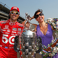 28 May, 2012, Indianapolis, Indiana, USA<br /> Dario Franchitti and wife Ashley Judd pose with the Borg-Warner trophy.<br /> (c)2012, Phillip Abbott<br /> LAT Photo USA