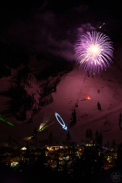 """Fireworks at Squaw Valley 2"" - Photograph of the fireworks show at Squaw Valley Ski Resort during the 2013 North Tahoe SnowFest."