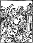 St Stephen, first Christian martyr:  Found guilty of blasphemy by the Sanhedrin, supreme council of the Jews, and stoned to death: 'Bible' Acts 7:57. Woodcut from Hartmann Schedel 'Liber chronicarum mundi' (Nuremberg Chronicle) Nuremberg, 1493.