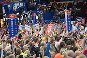 GOP delegates shout down Senator Ted Cruz during his address during the third day of the Republican National Convention July 20, 2016 in Cleveland, Ohio. Cruz spoke without endorsing Republican Presidential candidate Donald Trump and told delegates to vote with the conscience.