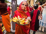 05 OCTOBER 2014 - GEORGE TOWN, PENANG, MALAYSIA: People participate in prayers and blessings during a procession honoring Durga in George Town during the Navratri procession. Navratri is a festival dedicated to the worship of the Hindu deity Durga, the most popular incarnation of Devi and one of the main forms of the Goddess Shakti in the Hindu pantheon. The word Navaratri means 'nine nights' in Sanskrit, nava meaning nine and ratri meaning nights. During these nine nights and ten days, nine forms of Shakti/Devi are worshiped.   PHOTO BY JACK KURTZ