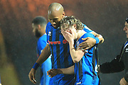 Luke Matheson is consoled by Calvin Andrew during the EFL Sky Bet League 1 match between Rochdale and AFC Wimbledon at Spotland, Rochdale, England on 19 February 2019.