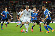 England striker Harry Kane on the ball during the Group E UEFA European 2016 Qualifier match between England and Estonia at Wembley Stadium, London, England on 9 October 2015. Photo by Alan Franklin.
