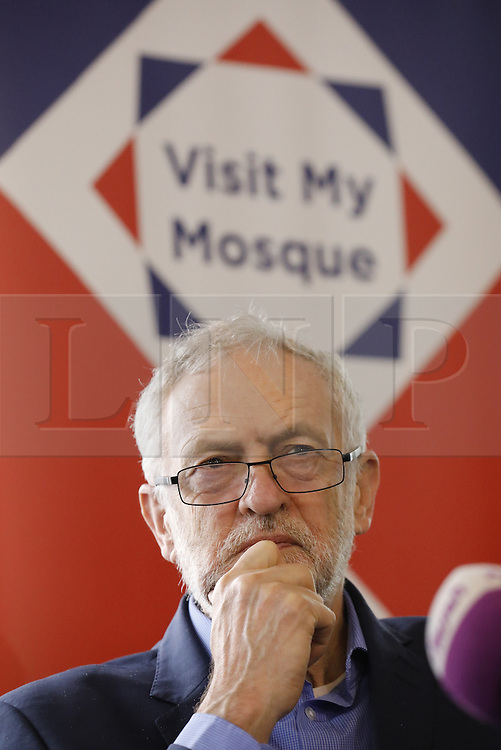 © Licensed to London News Pictures. 05/02/2017. London, UK.  Labour leader JEREMY CORBYN speaks during an open day at Finsbury Park Mosque in North London.  On Visit My Mosque Day over 150 mosques around the UK open their doors to the public, offering a better understanding of religion in effort to counter rising Islamophobia.  Photo credit: Tolga Akmen/LNP