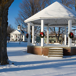 A gazebo at Christmas time in downtown Danville, in Vermont's Northeast Kingdom.