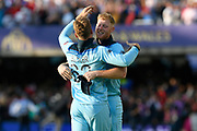 England Are World Champions - Ben Stokes of England and Jos Buttler of England celebrate after Martin Guptill of New Zealand is run out in the super over and England win the World Cup during the ICC Cricket World Cup 2019 Final match between New Zealand and England at Lord's Cricket Ground, St John's Wood, United Kingdom on 14 July 2019.