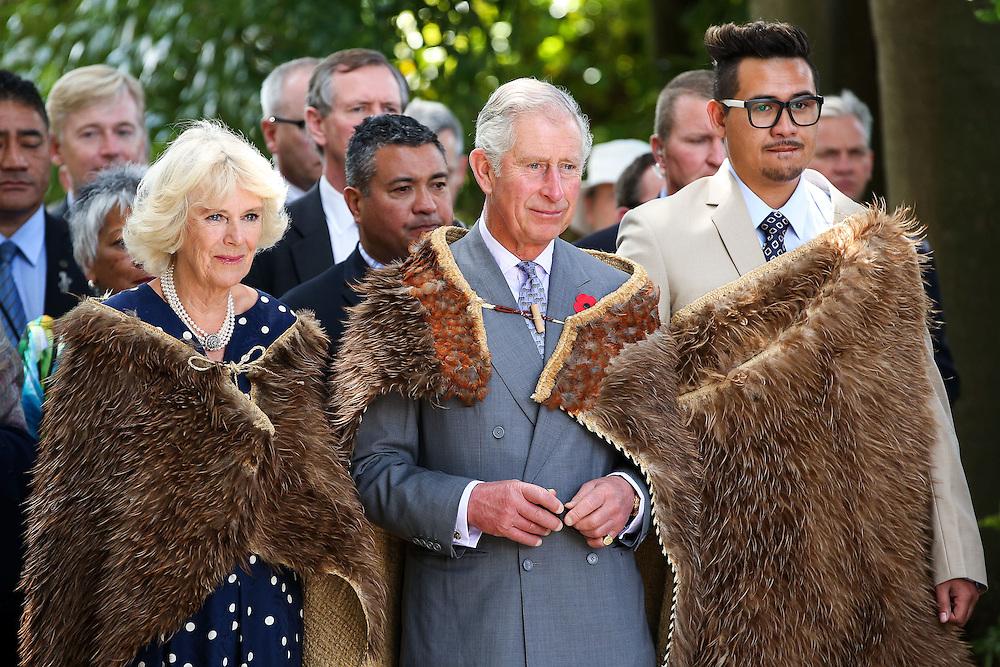 Prince Charles, Prince of Wales and Camilla, Duchess of Cornwall, and Te Ariki Tamaroa Whatumoana Te Aa arrive dressed in Korowai, traditional Maori woven cloak, during a visit to Turangawaewae Marae, Hamilton, New Zealand, Sunday, November 08, 2015. Credit:SNPA / Getty, Hagen Hopkins **POOL**