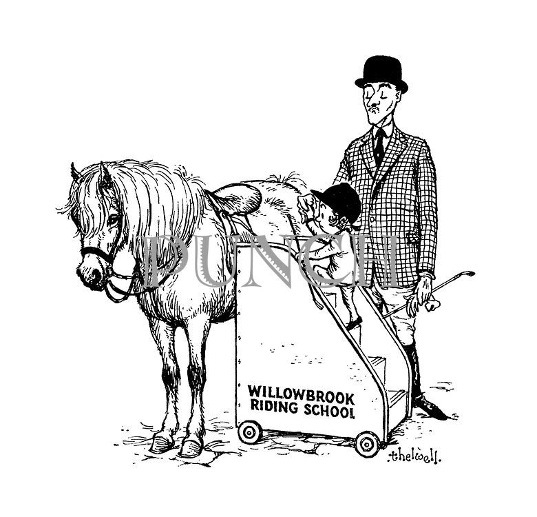 (willowbrook riding school girl climbing portable stairs to pony)