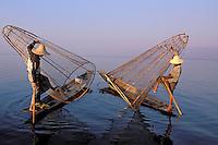 Myanmar (ex Birmanie). Province de Shan. Pecheur sur le lac Inle // Myanmar (Burma). Shan province. Fisher on the Inle lake.
