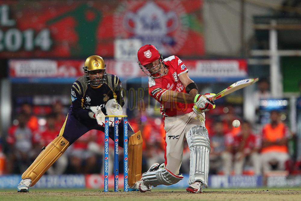 Glenn Maxwell of the Kings X1 Punjab during the first qualifier match (QF1) of the Pepsi Indian Premier League Season 2014 between the Kings XI Punjab and the Kolkata Knight Riders held at the Eden Gardens Cricket Stadium, Kolkata, India on the 28th May  2014<br /> <br /> Photo by Ron Gaunt / IPL / SPORTZPICS<br /> <br /> <br /> <br /> Image use subject to terms and conditions which can be found here:  http://sportzpics.photoshelter.com/gallery/Pepsi-IPL-Image-terms-and-conditions/G00004VW1IVJ.gB0/C0000TScjhBM6ikg